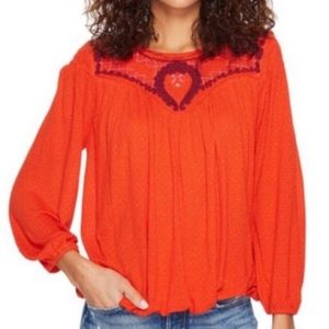 Free People / Begonia Embroidered Orange Top - L